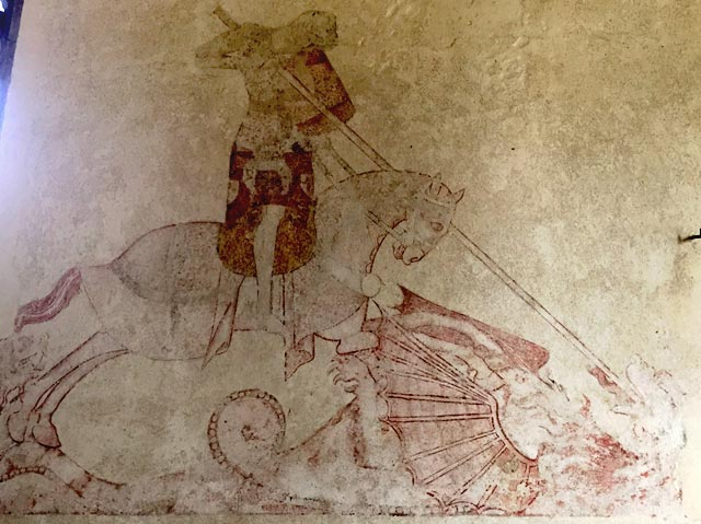 St George, from a c. 14th wall painting, St Mary's church Troston