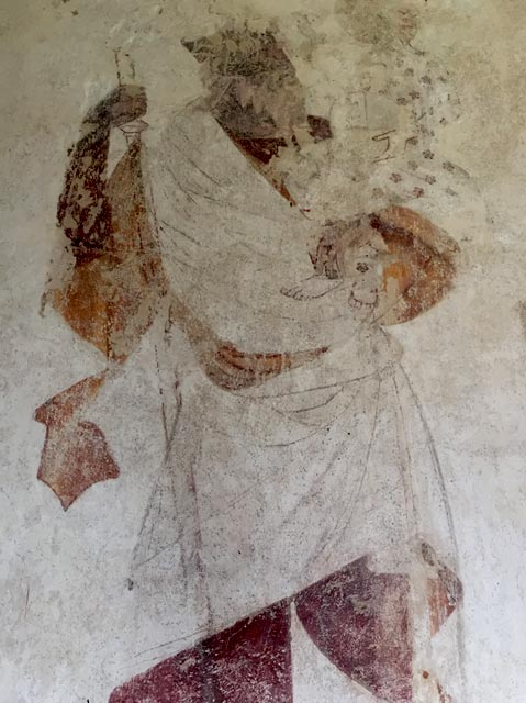 St Christopher, from a c. 14th wall painting, St Mary's church Troston